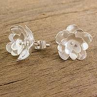 Sterling silver button earrings, 'Welcoming Petals' - Floral Sterling Silver Button Earrings from Guatemala