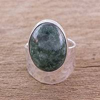 Jade cocktail ring, 'Speckled Sky' - Modern Dark Green Jade Cocktail Ring from Guatemala