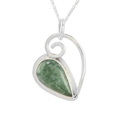 Jade pendant necklace, 'Elegant Drop' - Green Jade and Silver Pendant Necklace from Guatemala