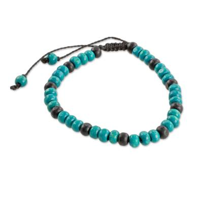 Artisan Crafted Brown and Turquoise Wood Beaded Friendship Bracelet
