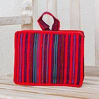 Cotton cosmetic bag, 'Poppy Stripes' - Striped Cotton Cosmetic Bag in Poppy from Guatemala