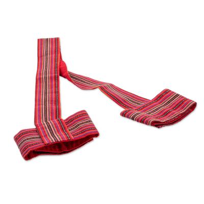 Cotton yoga mat strap, 'Peaceful Stripes' - Striped Cotton Yoga Mat Strap in Crimson from Guatemala