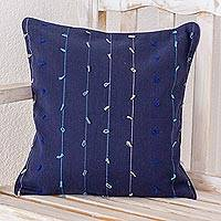 Cotton cushion cover, 'Thoughts on Blue' - 100% Cotton Dark Blue Cushion Cover with Gray and Blue Lines