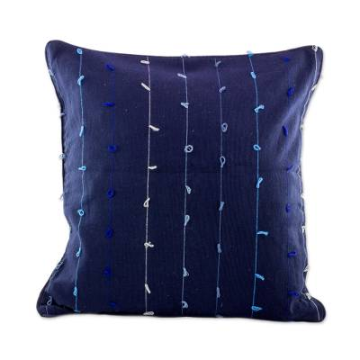 100% Cotton Dark Blue Cushion Cover with Gray and Blue Lines