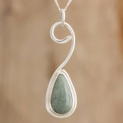 Teardrop light green jade pendant necklace from guatemala mayan jade pendant necklace mayan note in light green teardrop light green jade aloadofball Image collections