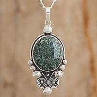 Jade pendant necklace, 'Lovely Paola in Dark Green' - Jade Pendant Necklace in Dark Green from Guatemala