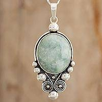 Jade pendant necklace, 'Lovely Paola in Light Green' - Jade Pendant Necklace in Light Green from Guatemala