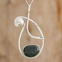 Jade pendant necklace, 'Abstract Universe' - Abstract Jade and Silver Pendant Necklace from Guatemala
