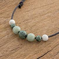Jade pendant necklace, 'Ancient Virtue' - Adjustable Jade Beaded Pendant Necklace from Guatemala