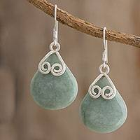 Jade dangle earrings, 'Love Beneath the Rain' - Drop-Shaped Jade and Silver Dangle Earrings from Guatemala