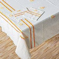 Cotton tablecloth and napkin set, 'Sunny Rooster' - Hand Woven All Cotton Tablecloth and Napkin Set