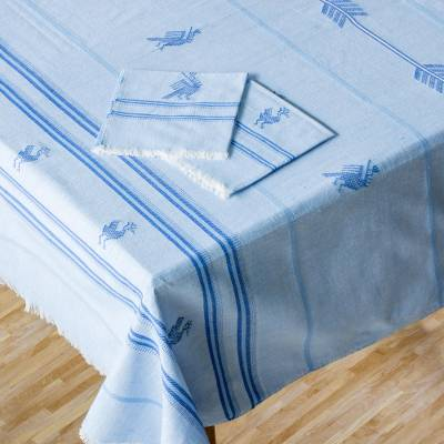Cotton tablecloth and napkin set, 'Birds of the Garden' - Guatemalan Handmade Tablecloth and Napkins Set