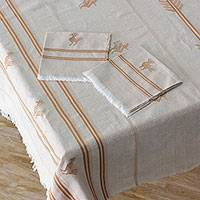Cotton tablecloth and napkin set, 'Field and Forest' - Hand Woven Natural and Orange Cotton Table Linen Set