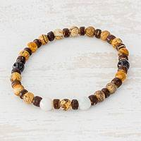Jasper and jade beaded stretch bracelet, 'Brown Combination' - Jasper Jade and Coconut Shell Beaded Bracelet from Guatemala