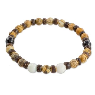 Jasper Jade and Coconut Shell Beaded Bracelet from Guatemala