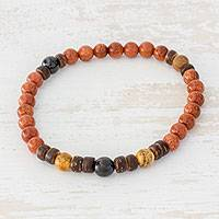 Jasper and jade beaded stretch bracelet, 'Shades of Earth' - Earth-Tone Multi-Gemstone Beaded Bracelet from Guatemala