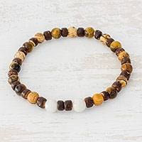Multi-gemstone beaded stretch bracelet, 'Earthen Serenity' - Multi-Gemstone and Coconut Shell Bracelet from Guatemala