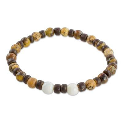 Multi-Gemstone and Coconut Shell Bracelet from Guatemala
