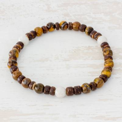 Novica Tigers eye and jade beaded stretch bracelet, Passionate Combination