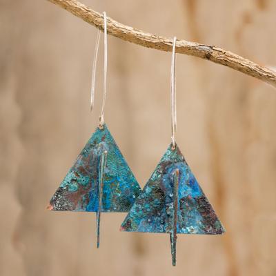 0ec223ab0 Copper dangle earrings, 'Paper Boats' - Triangular Oxidized Copper Dangle  Earrings from Guatemala