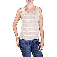 Natural cotton tank top, 'Beige Whisper' - Natural Undyed Beige Cotton with Tank Top Ivory Stripes