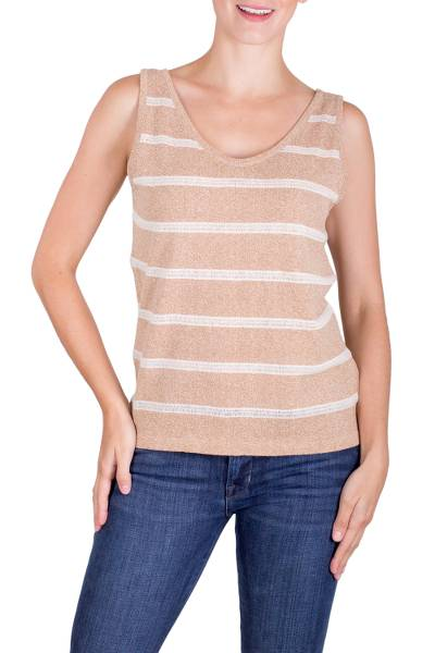 Natural cotton tank top, 'Coffee Tree' - Natural Undyed Dark Beige Cotton Ivory Stripes Tank Top