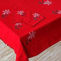 Cotton tablecloth and napkin set, 'Easter Flowers' - Red Cotton Tablecloth and Napkin Set with Easter Flowers