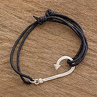 Sterling silver pendant bracelet, 'Binding Fish Hook'