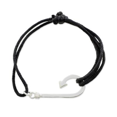 Sterling silver pendant bracelet, 'Binding Fish Hook' - Sterling Silver Fish Hook Pendant Bracelet from Guatemala