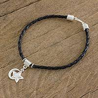 Sterling silver charm bracelet, 'Above the Sky' - Sterling Silver Star and Moon Charm Bracelet from Guatemala