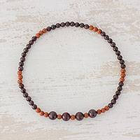 Garnet and aventurine beaded stretch anklet, 'Earthen Combination' - Garnet and Aventurine Beaded Anklet from Guatemala