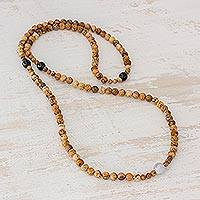 Jasper and jade beaded necklace, 'Japa Mala Beauty' - Long Jasper and Jade Beaded Necklace from Guatemala