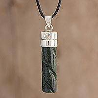 Jade locket necklace, 'Forever Message of Love' - Guatemalan Green Jade and Sterling Silver Locket Necklace