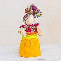 Wood decorative doll, 'Conscious Friend' - Red and Yellow Pinewood Worry Doll from Guatemala
