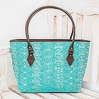 Leather accent cotton shoulder bag, 'Guatemalan Ikat' - Guatemalan Leather Accent Cotton Shoulder Bag in Turquoise