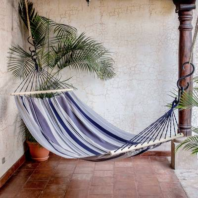 Cotton hammock, 'Mountain Breeze' (single) - Striped Cotton Hammock from El Salvador (Single)