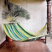 Cotton hammock, 'Tropical Rest' (single) - Striped Cotton Hammock from Guatemala (Single)