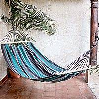 Cotton hammock, 'Ocean View' (single) - Teal and Grey Striped Cotton Hammock (Single)