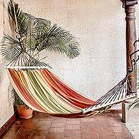 Cotton hammock, 'Autumnal Paradise' (single) - Striped Cotton Hammock from Guatemala (Single)