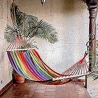 Cotton hammock, 'Colorful Rest' (single) - Striped Multicolor Cotton Hammock from Guatemala (Single)