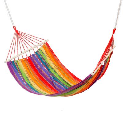 striped multicolor cotton hammock from guatemala single colorful