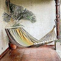 Cotton hammock, 'Striped Earth' (single) - Striped Cotton Hammock from El Salvador (Single)