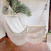 Cotton hammock, 'Fresh Comfort' (single) - Handwoven Cotton Single Hammock from El Salvador