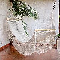 Cotton hammock, 'Sun and Sand' - Cotton Hammock in Eggshell (Single) Woven in El Salvador