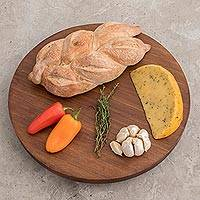 Cypress wood lazy susan, 'Sweet Enjoyment' - Cypress Wood Spinning Lazy Susan Tray from Guatemala