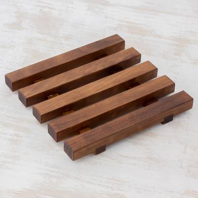 Wood trivet, 'Family Table' - Brown Square Alder Wood Trivet from Guatemala