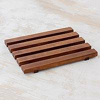 Wood trivet, 'Family Meal' - Rectangular Alder Wood Trivet from Guatemala