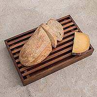 Wood bread board, 'Homey Kitchen' - Alder Wood Bread Board and Trivet from Guatemala