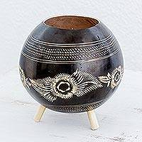 Calabash decorative bowl, 'Lines of History' - Black Calabash Decorative Bowl from Guatemala