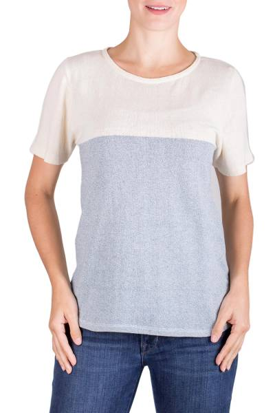 Natural cotton top, 'Cloud Whisper' - Natural Cotton and Recycled Denim Pullover Top for Women